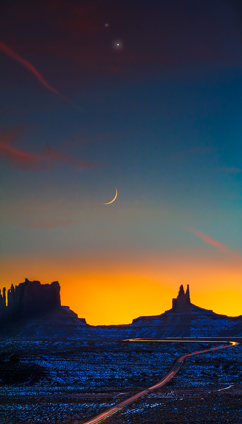 The great conjunction from Monument Valley.