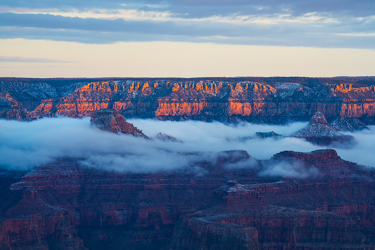Snow and clouds in the Grand Canyon