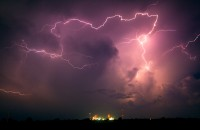 lighting,ponca city,oklahoma,power plant,field