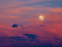 moon,storm,sunset