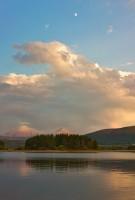 Lake Dillon,sunset,moon,Colorado