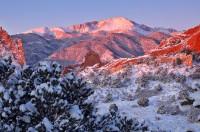 Garden of the Gods,Colorado,sunrise,Pikes Peak