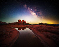 Mars, Sedona, Cathedral Rock, Arizona, Milky Way
