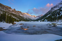 sunset, Mills Lake, Rocky Mountain National Park, Colorado