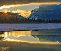 Banff,Vermillion Lakes,Rundle,sunrise