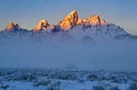 Grand Teton,Wyoming,fog,sunrise