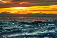 Little Painted Desert, Winslow, San Francisco Peaks, Arizona, sunset