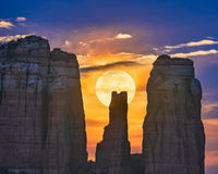 moon,Cathedral Rock,sunset,sedona