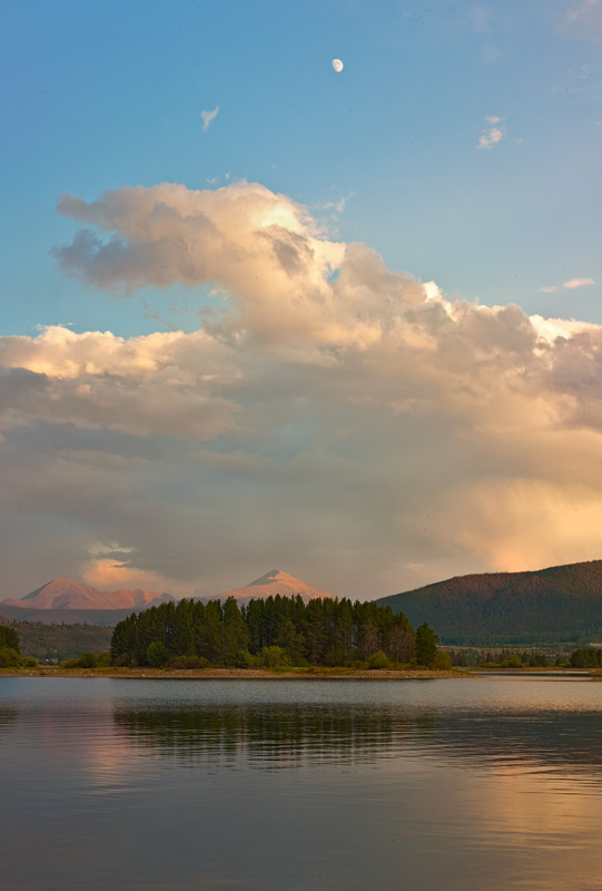 Lake Dillon,sunset,moon,Colorado