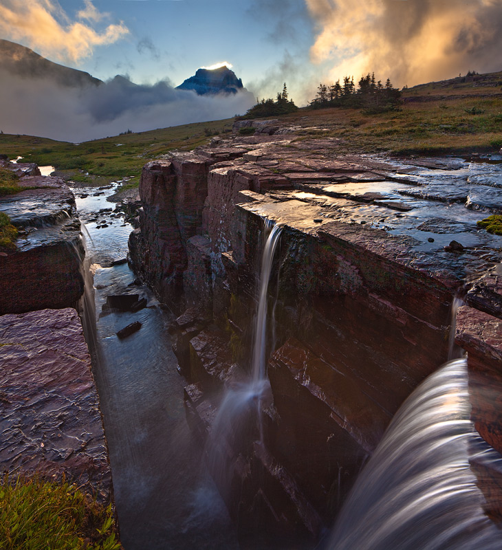 Glacier National Park, Montana,triple falls,fog,sunrise
