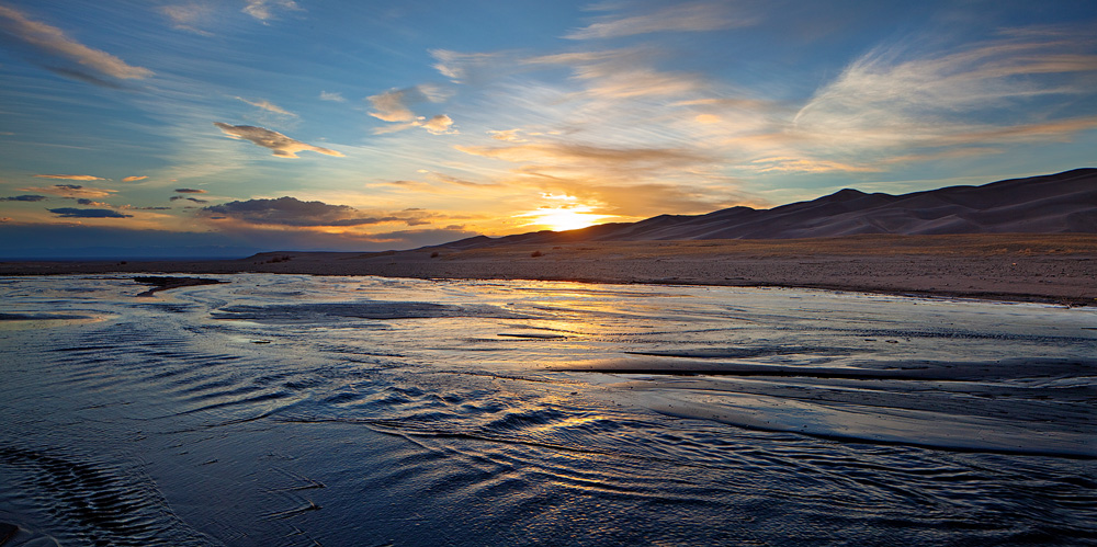 sunset, Medano, Great Sand Dunes, Colorado