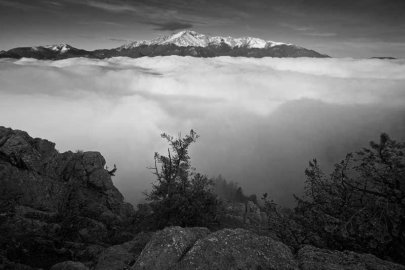 Pikes Peak rises above the clouds