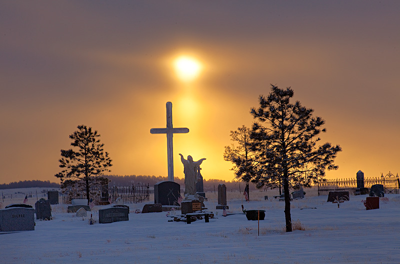 sun pillar,cemetery,Silver Cliff,Colorado, photo