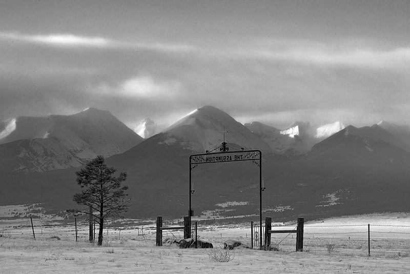 A wider view of the Assumption Cemetery entrance as the peaks began to really light up.