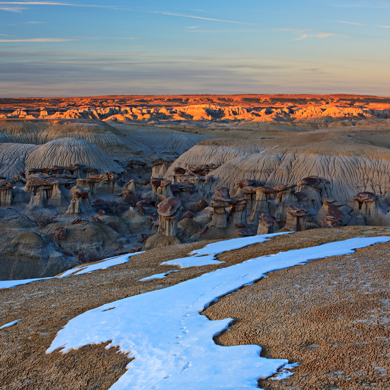 hoodoos,ah shi sle pah,New Mexico,sunset, photo