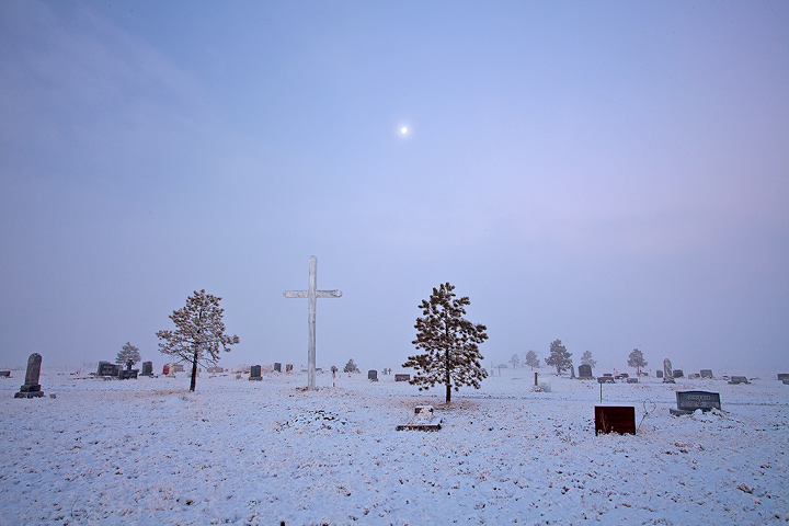 Ansel Adams,cemetary,moon,Silver Cliff,Colorado, photo
