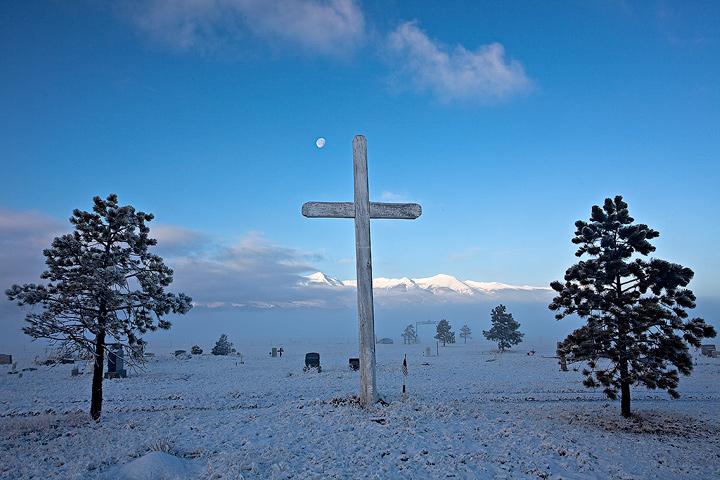 Ansel Adams,cemetary,moon,Silver Cliff,Colorado , photo