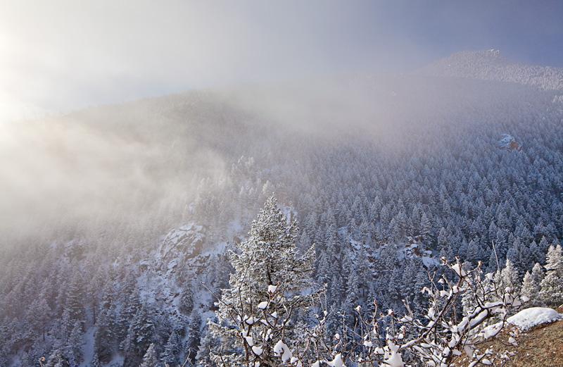 Barr Trail, Manitou Springs, Colorado, fog, snow
