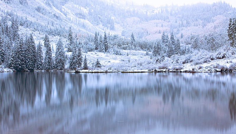 Maroon Lake after an early snowfall, first day of Fall, 2013