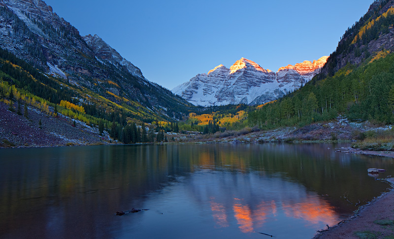 Maroon Lake at sunrise, late September.