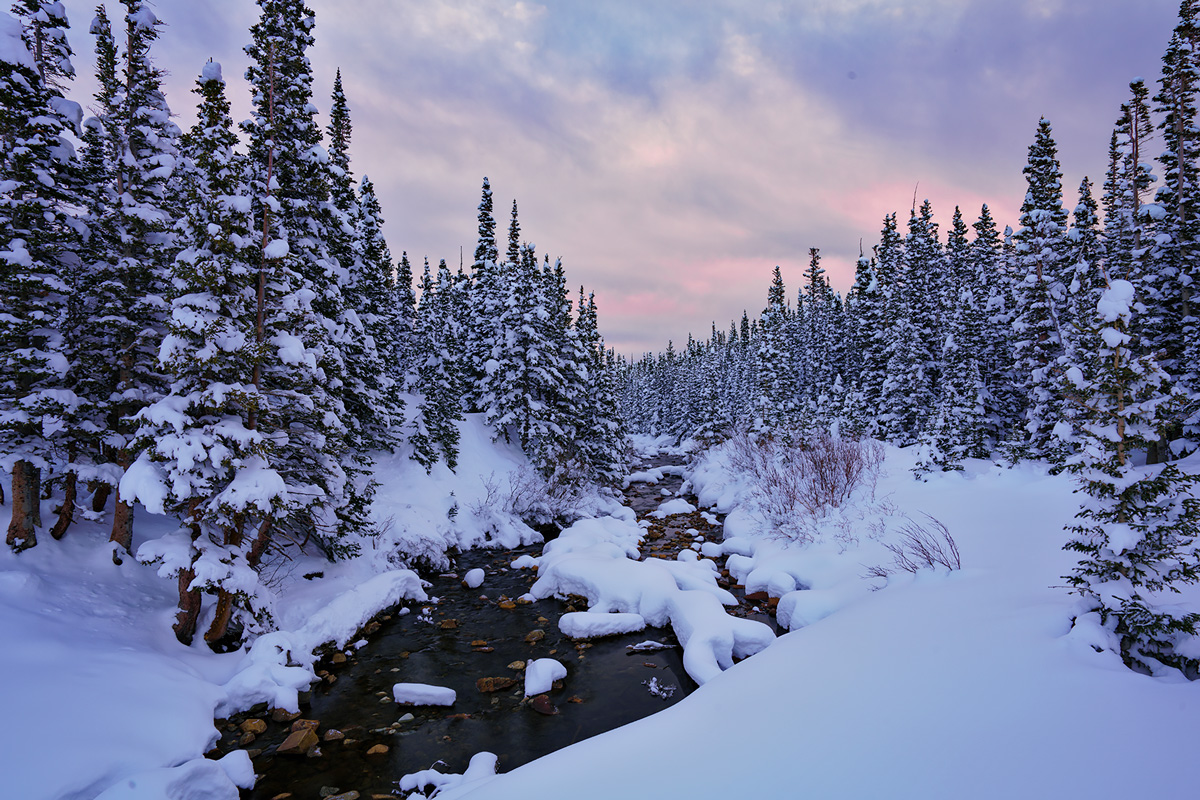 Brainard Lake, Indian Peaks, Colorado, snowstorm, sunrise, photo