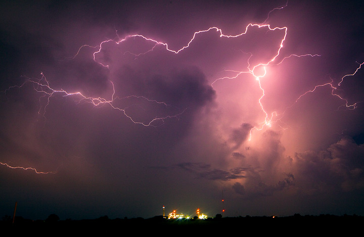lighting,ponca city,oklahoma,power plant,field