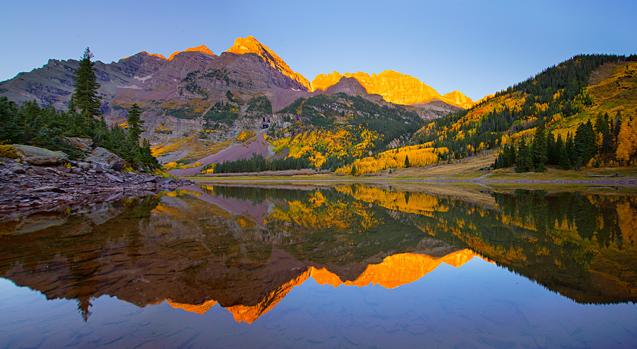 September sunrise from the Maroon Bells area near Aspen.