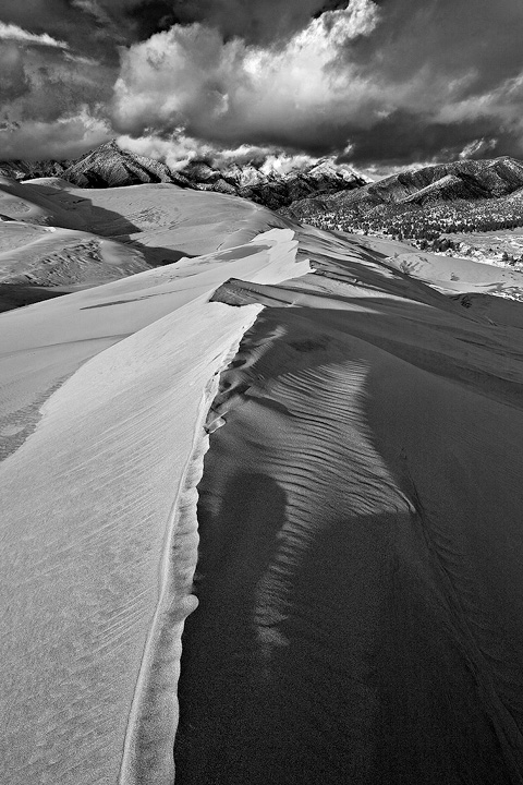 Sculpted sand crests the Dunes in Winter.