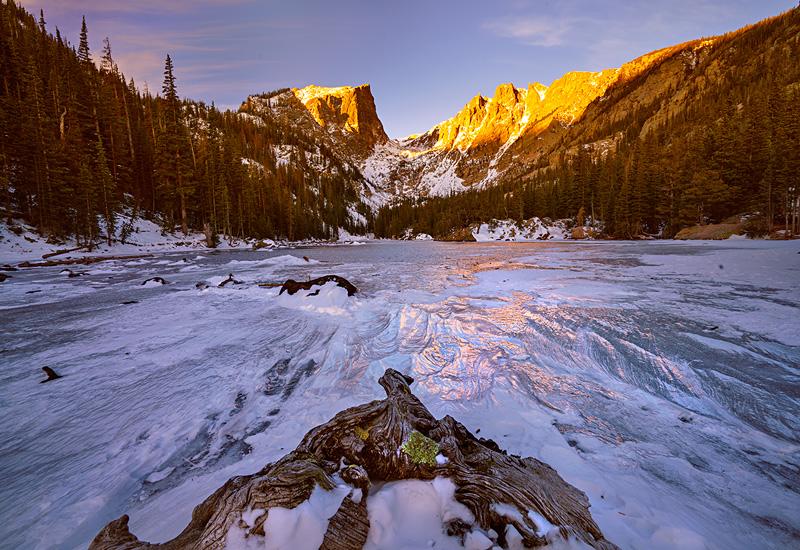 An icy morning in November at Dream Lake.