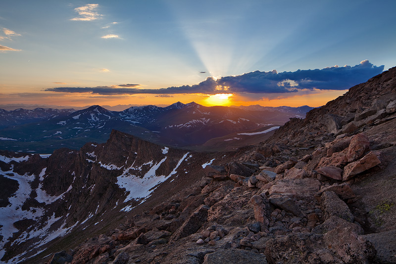 View from the edge of Sawtooth Ridge at sunset.