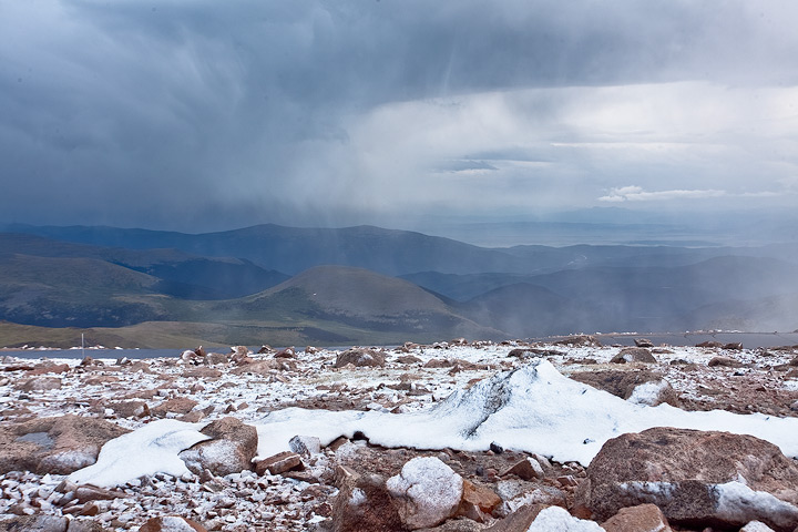 Snow squalls hit the Mount Evans Highway