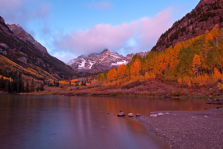 The other direction, the famous Maroon Bells from the untraditional far side of the lake.
