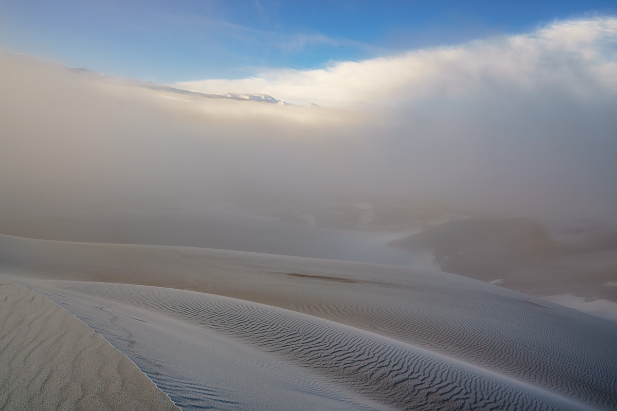 fog, Great Sand Dunes, Colorado, photo