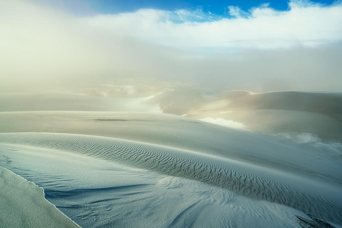 sunrise, foggy, Great Sand Dunes, Colorado, photo