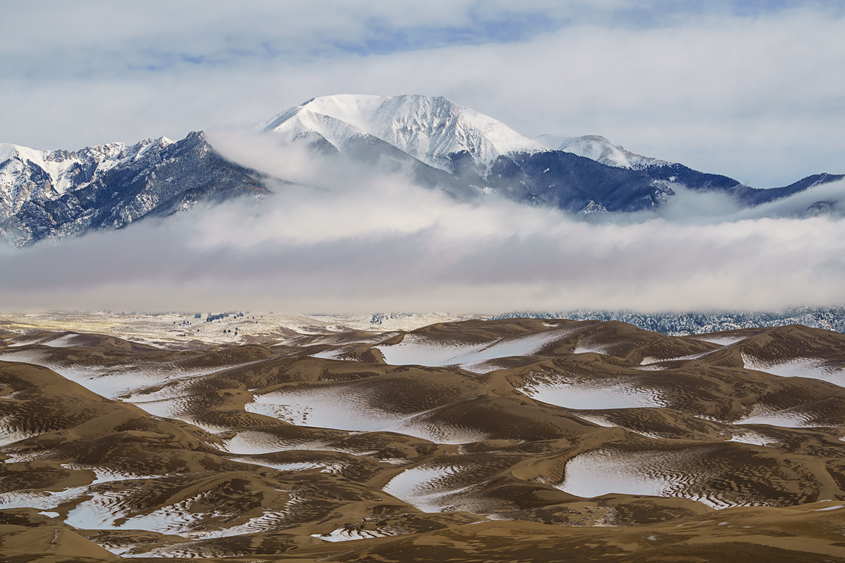 Great Sand Dunes, Colorado, fog, herard, photo