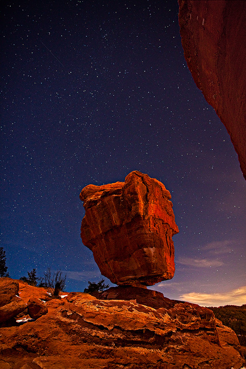 Balanced Rock at night, Garden of the Gods park. Light provided by the quarter moon.