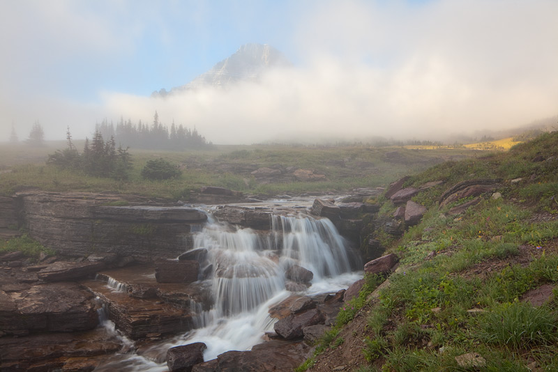 A foggy morning in the Glacier high country.