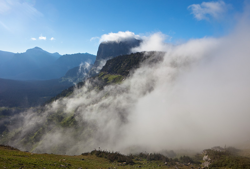 Fog over the Continental Divide at Logan Pass.