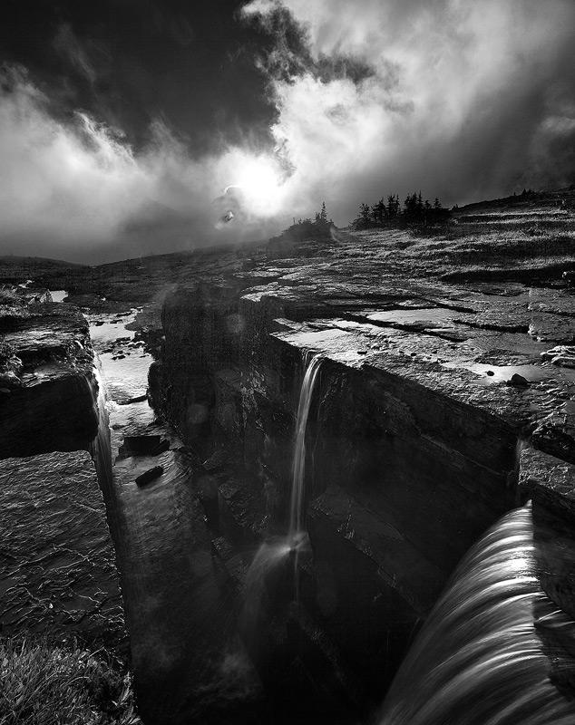 Glacier National Park, Montana,Triple Falls,fog, photo