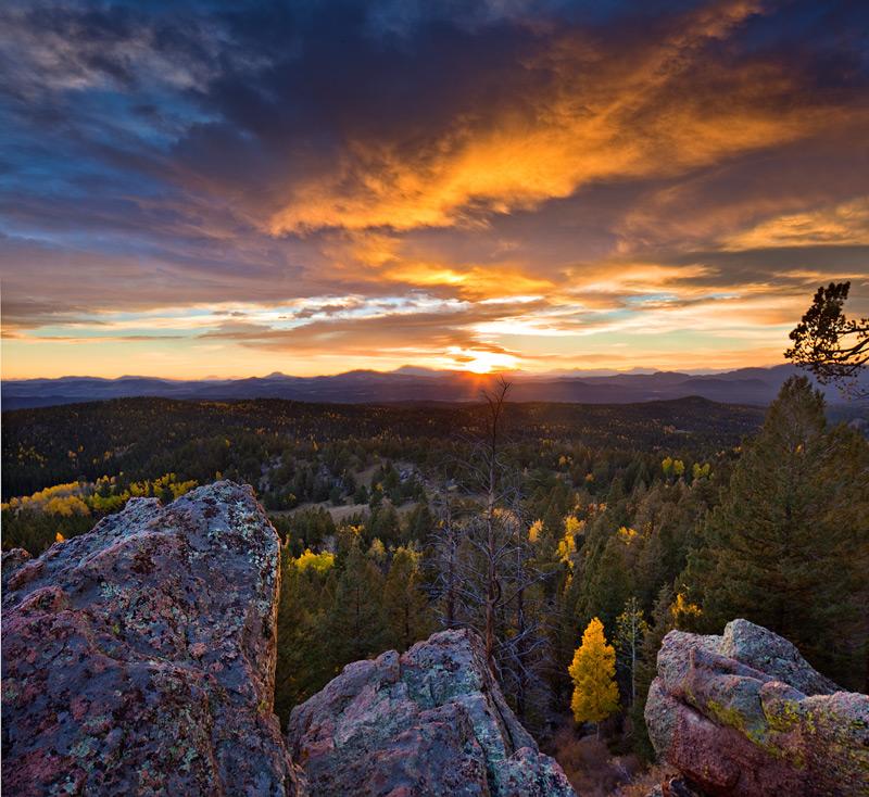 Grouse Mountain, Mueller State Park, aspen, sunset, fall colors