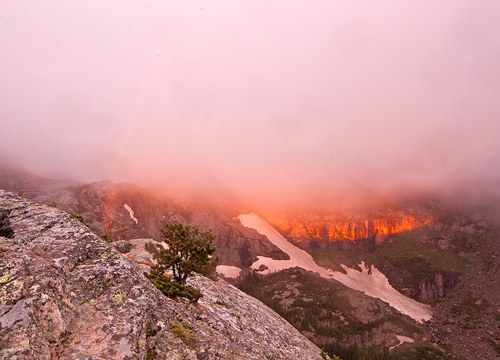 rainbow,fog,lake helene,rocky mountain,colorado, photo