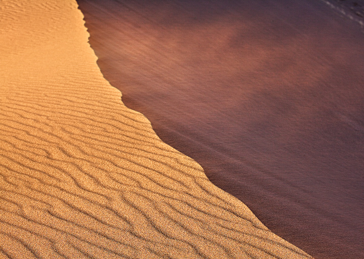 Strong winds blow sand off a dune crest.