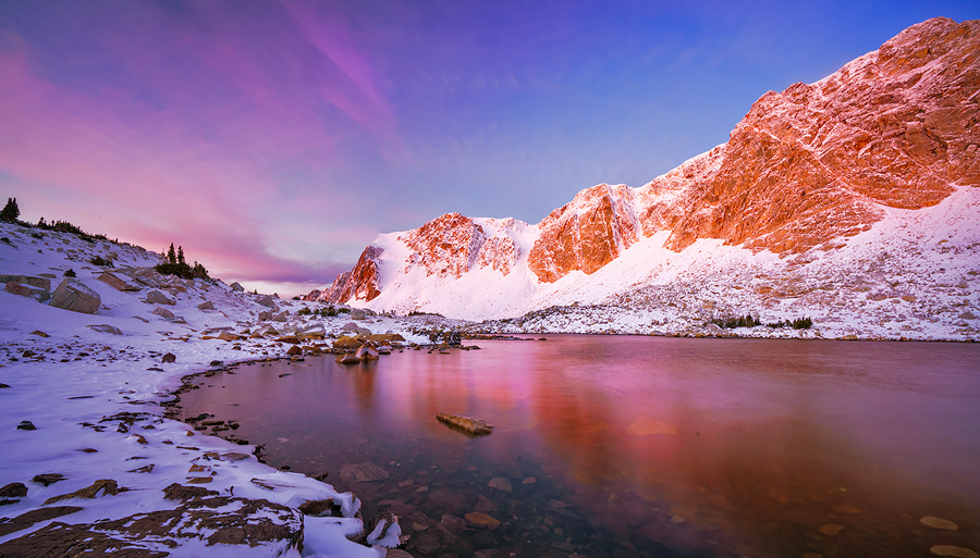 Medicine Bow Peak in the Snowy Range in late fall, at sunrise.