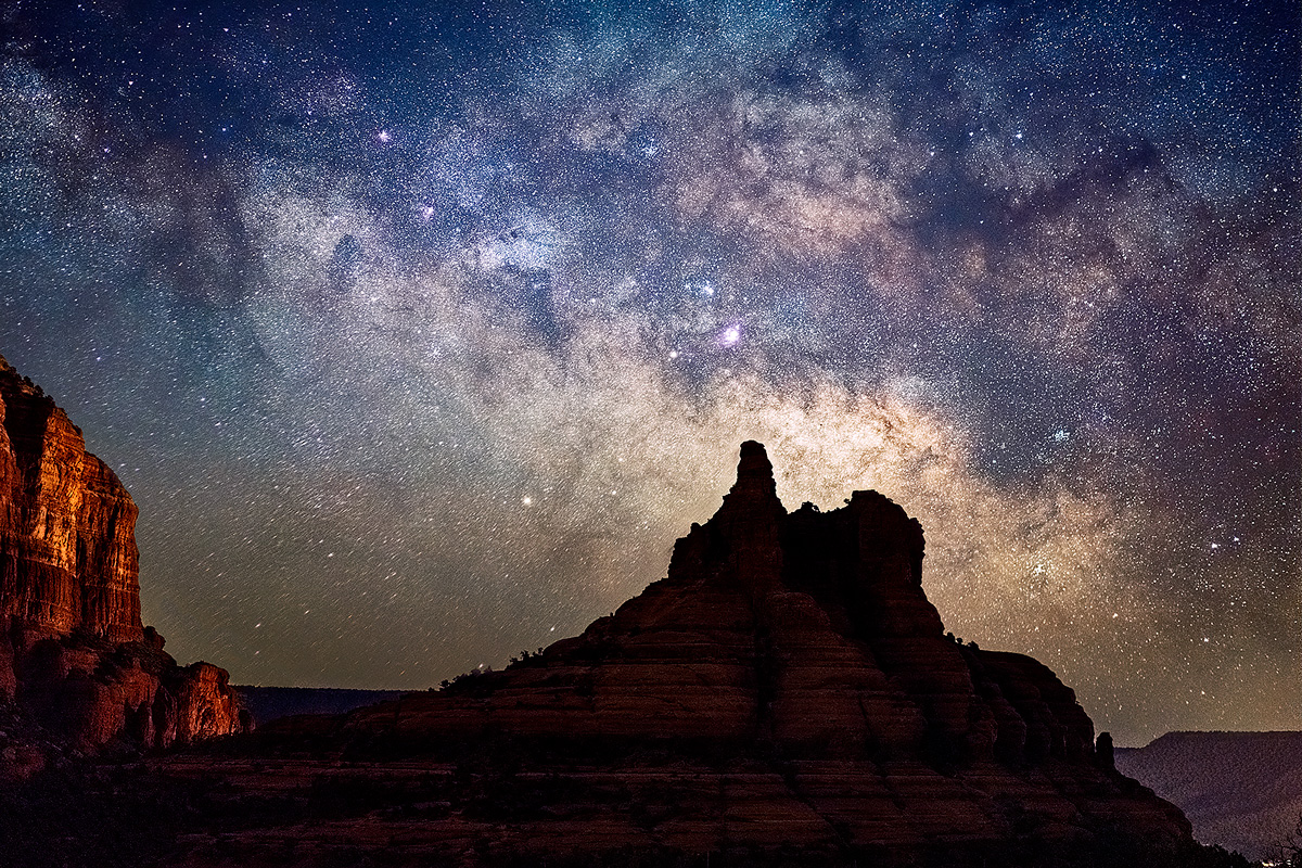 The Milky Way rising over Bell Rock in Sedona, early morning in February.