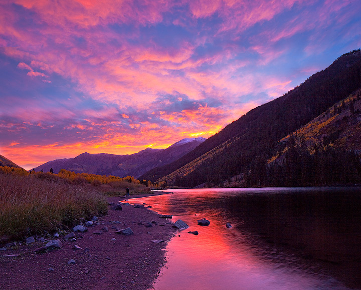 Maroon Lake,Colorado,fall colors,aspen,pink, photo