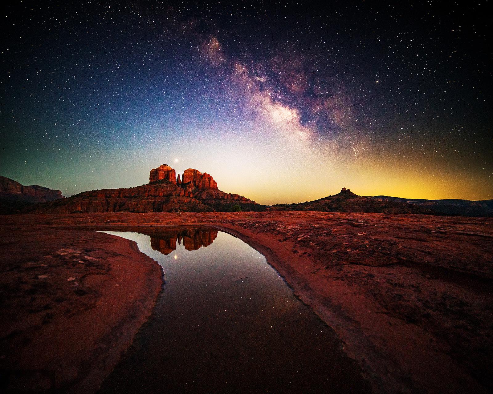Mars, Sedona, Cathedral Rock, Arizona, Milky Way, photo