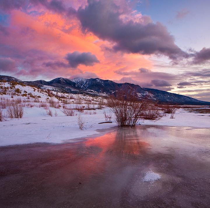 Frozen Medano Creek at sunset.