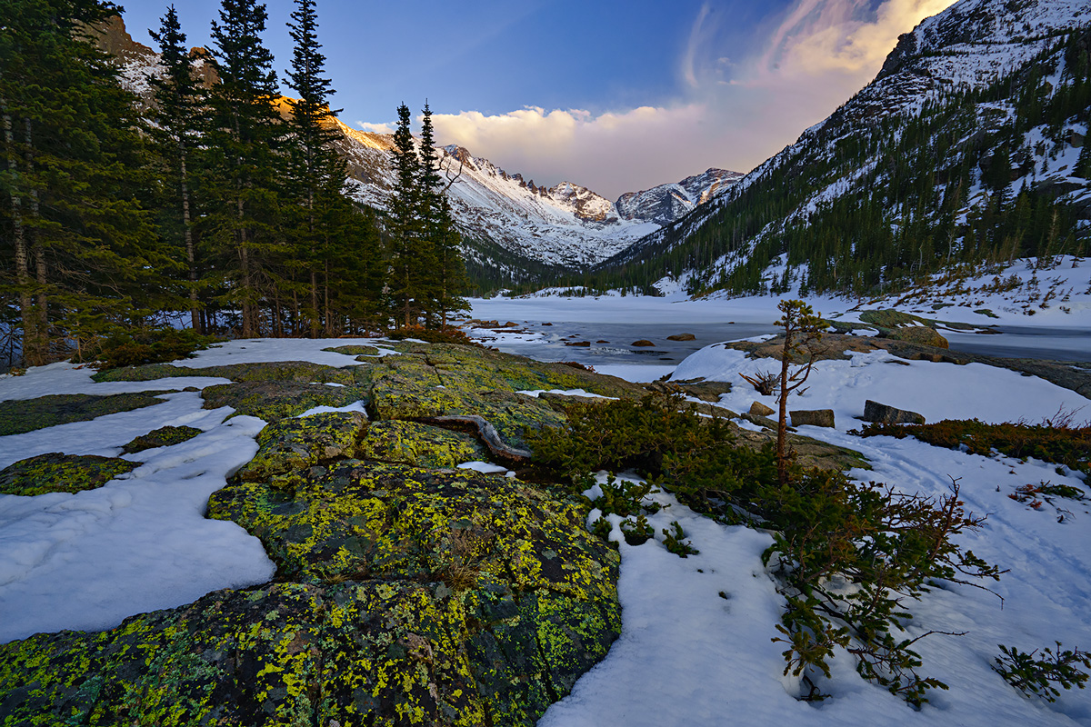 Mills Lake, Rocky Mountain National Park, Colorado, lichen, winter, photo