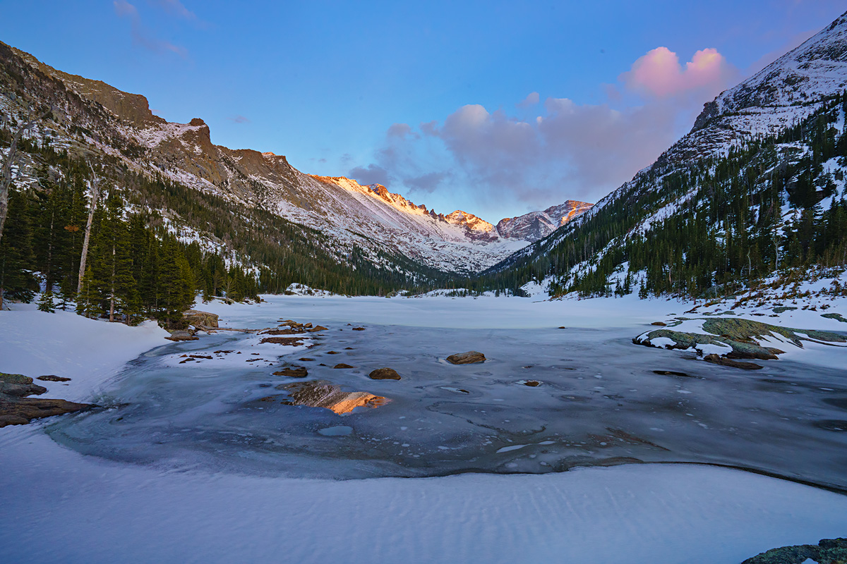 sunset, Mills Lake, Rocky Mountain National Park, Colorado, photo