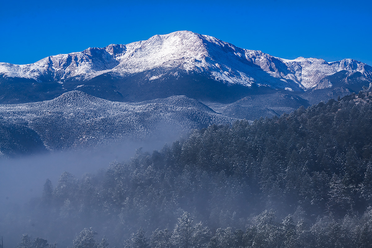 Pikes Peak,fog,Colorado, photo